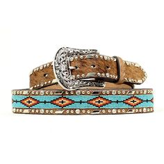 Ariat Ladies Tan Beaded Hair-On Western Belt A1515402