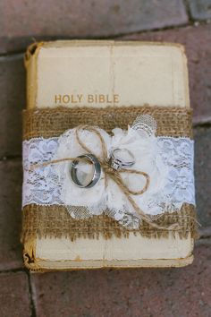 Bible Ring Bearer pillow from Wild Country Rose! https://www.facebook.com/TheWildCountryRose #ChristianWeddingIdeas