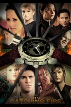 The cast of the Hunger Games; Catching Fire. Jennifer Lawrence, Liam Hemsworth, Josh Hutcherson, and Sam Claflin are in this movie.