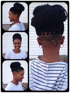 Box braids with undercut design