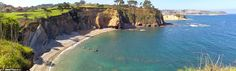 Panoramic view of the Gargantera beach in Asturias, Spain: easy to find and hard to climb down to, like a lot of the beaches of Asturias :) In the background you can see a glimpse of the beautiful village of Luanco.