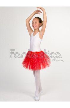5c3bbb751 Tutú para Ballet y Danza - Falda de Tul para Niña y Mujer Color Rojo con  Brillantitos Strass