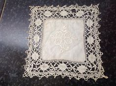 Delicate, Antique, French Doily with embroidery centre and Vintage Lace. by fleursenfrance. Explore more products on http://fleursenfrance.etsy.com
