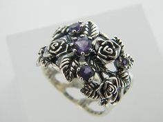 Shablool Didae Israel Ring Sterling Silver Purple Round Ladies Women