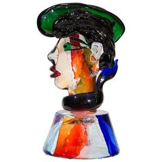 Vintage Murano Glass Sculptural Head or Bust of a Gondolier by Stefano Toso, 20th century.