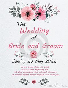 Illustration about Wedding invitation card with flowers, and dividers, ideal for weddings. Pink and grey colors. Illustration of pink, grey, ideal - 111578853 Grey Colors, Wedding Invitation Cards, Dividers, Lorem Ipsum, Pink Grey, Groom, Place Card Holders, Weddings, Bride