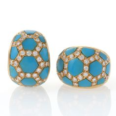 Van Cleef & Arpels diamond and Turquoise Ear Clips.  Available exclusively at Macklowe Gallery.