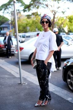 Yasmin Sewell...can't decide what I like most, the head wrap, the printed pants, or the shoes??