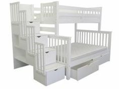 Bunk Beds Twin over Full Stairway White + 2 Extra Drawers