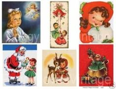 Christmas Girls 2 Cut Outs from Vintage Greeting Cards | eBay