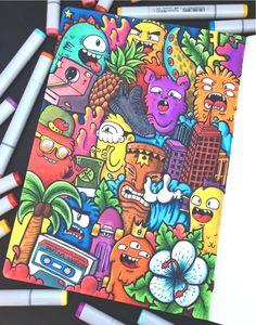 Doodle Art Letters, Cute Doodle Art, Doodle Art Designs, Doodle Art Drawing, Doodle Art Journals, Doodle Doodle, Drawing Ideas, Graffiti Doodles, Graffiti Drawing
