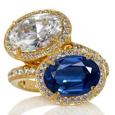 Toi et Moi Oval Diamond Halo Pave Engagement Ring in Yellow Gold