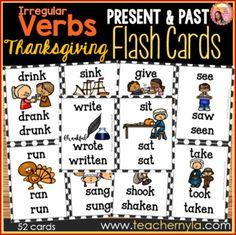 Thanksgiving Themed Irregular Verb Flash Cards