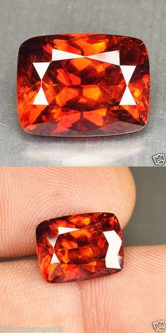 Sphalerite 181106: 8.99 Cts Natural Fire Reddish Orange Sphalerite Cushion Cut Spain Gem (Video Avl -> BUY IT NOW ONLY: $650 on eBay!