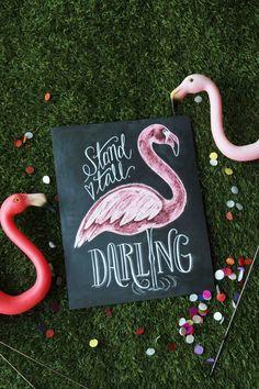 Flamingo Print Stand Tall Darling Girl's Room Art door LilyandVal