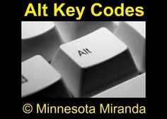 ALT Key Codes Cheat Sheet for symbols etc. via @Miranda Sherman from Minnesota Miranda
