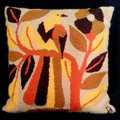 Vintage Needlepoint Parrot Bird Pillow Cover VENEZUELA Souvenir 15x15 EUC
