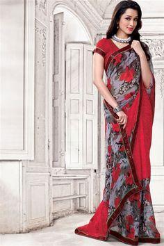 Georgette Maroon, Grey Designer Printed Saree