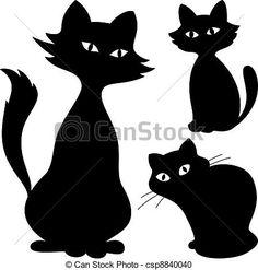 Vector - gatos, silueta, Conjunto - stock de ilustracion, ilustracion libre de, stock de iconos de clip art, logo, arte lineal, retrato de EPS, Retratos, gráficos, dibujos gráficos, dibujos, imágenes vectoriales, trabajo artístico, Arte Vectorial en EPS