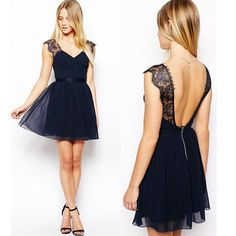 Women Sexy V Neck Lace Halter Club Evening Cocktail Formal Party Chiffon Dress #unbranded #Ballgown #Formal