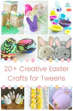 Get out the Easter craft supplies and get creative! A collection of awesome Easter crafts for tweens and teens to make and share. #easter #eastercrafts #eastercraftsforkids #eastereggs #craftsforkids #tweencrafts #springcraftsforteens #easydiyeastercraftsforkids #eastercraftsforteens #springdiy #olderkidcrafts #easterbunnycraft #kitchencounterchronicles Easter Activities For Kids, Spring Crafts For Kids, Craft Projects For Kids, Crafts For Kids To Make, Crafts For Teens, Craft Activities, Teen Crafts, Easter Crafts For Kids, Easter Decor
