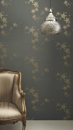 All Star Wallpaper A grey teal wallpaper with gold stars, that have a potato cut out look.