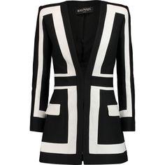 Balmain Two-tone gabardine blazer ($1,455) ❤ liked on Polyvore featuring outerwear, jackets, blazers, dresses, coats & jackets, black, gabardine jacket, balmain, slim fit blazer and balmain blazer