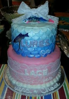 Lures or lace gender reveal cake by Amber's Cake Lair