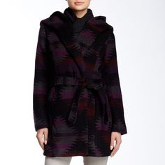 """New Steve Madden Hooded Printed Coat New Steve Madden Hooded Printed Coat. Size M.                                                                         Attached hood.                                                   Long sleeves.                                                     Concealed front button closure.                      Removable waist tie.                                            2 front slash pockets.                                           Allover print.   Approx. 32""""…"""