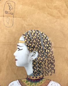 Egyptian Portrait Art Lesson for middle school kids - Leah Newton Art Egyptian Crafts, Ancient Egyptian Art, Egyptian Food, 8th Grade Art, Fourth Grade, School Portraits, Middle School Art, Art Academy, Arts Ed