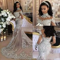 2017 Arabic Dubai Mermaid Wedding Dresses Illusion Long Sleeve High Neck Backless Sweep Train Elegant Lace Bridal Gowns Robe De Mariee Unusual Wedding Dresses Wedding Dress Lace From Alicehouweddingdress, &Price; Unusual Wedding Dresses, Dresses Elegant, Elegant Wedding Gowns, Dream Wedding Dresses, Bridal Dresses, Dubai Wedding Dress, Backless Lace Wedding Dress, Dress Lace, Rhinestone Wedding Dresses