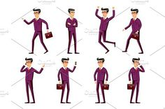 businessman in a maroon suit. poses. Human Icons. $5.00