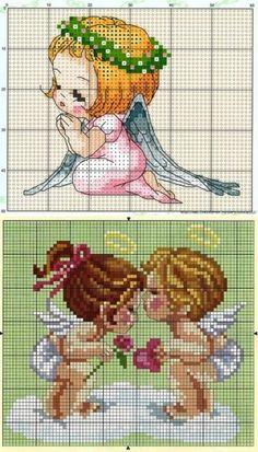 Los esquemas del bordado por la cruz los angelitos. El bordado por la cruz el ángel | la Economía doméstica para toda la familia