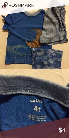 Carters - toddler boy pj set Size 4T boys pj set( includes shirt, shirts and pants), good condition! Carter's Pajamas Pajama Sets