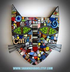 (Original Handmade Mixed Media Mosaic Assemblage Wall Hanging by Shawn… Mosaic Wall, Mosaic Glass, Mosaic Tiles, Glass Art, Stained Glass, Mosaic Art Projects, Mosaic Animals, Gatos Cats, Mosaic Madness