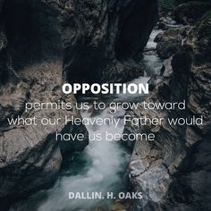 "Elder Dallin H. Oaks: ""Opposition permits us to grow toward what our Heavenly Fahter would have us become."" #lds #quotes"