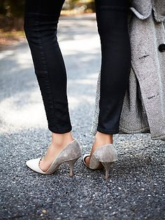 Meridian Heel | Perfect slip-on suede heels, featuring asymmetrical pointy toes.  Padded footbed.   *By Jeffery Campbell + Free People