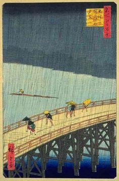 'Súbita lluvia sobre el Puente Atake'  ANDO HIROSHIGE (llamado Utagawa Hiroshige / Andō Tokutarō) (Japón, 1797-1858)  1856 grabado sobre madera, 36.8- 25 cm. – Tokio, Museo de Arte Fuji
