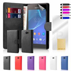 NEW  LEATHER WALLET CASE COVER FOR Sony Xperia M2 +FREE SCREEN PROTECTOR