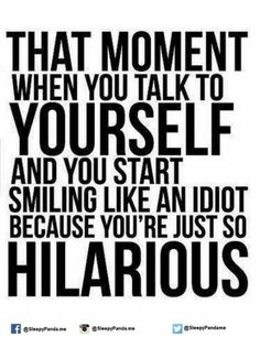 Memes, Idiot, and : THAT MOMENT WHEN YOU TALK TO YOURSELF AND YOU START SMILING LIKE AN IDIOT BECAUSE YOU'RE JUST SO HILARIOUS @SleepyPanda.me @sleepyPanda.me @SleepyPandame