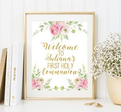 Welcome to First Holy communion sign Girl first communion sign Floral First Communion Printable Elegant Pink First Holy Communion Poster