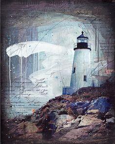 SUR CE POINT :  Il sagit dun tirage papier de mon original painting Mille tempêtes (Pemaquid Point) il est professionnellement imprimé sur papier de