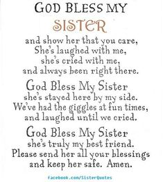 Birthday quotes for cute sister cute sister quotes luxury god bless my sis sisters of cute . birthday quotes for cute sister the best Birthday Prayer For Me, Birthday Verses, Brother Birthday Quotes, Best Birthday Quotes, Happy Birthday Sister, Belated Birthday, Birthday Greetings, Birthday Wishes, Humor Birthday