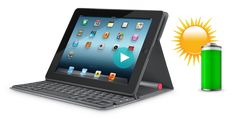 I like this solar powered keyboard for an iPad made by logitech. Solar Keyboard Folio - Logitech. $129
