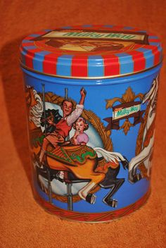 Old Tin Can Container Milky Way Mars Carousel Merry Go Round Horses  #RoyalDansk
