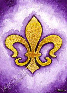 "... painting- Louisiana Pride- LSU- 8"" x 10"" purple and gold art print"