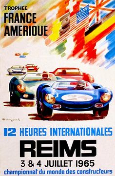 1967 12 Heures Internationales de Reims Race - Promotional Advertising Poster