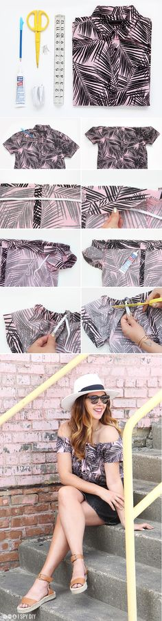 » MY DIY | No-Sew Printed Cotton Off-the-Shoulder Shirt