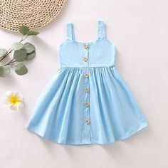 Daily Deals For Moms-- Baby / Toddler Girl Solid Cardigan Style Sleeveless Dress Girls Frock Design, Kids Frocks Design, Baby Frocks Designs, Baby Dress Design, Baby Girl Frocks, Frocks For Girls, Dresses Kids Girl, Kids Outfits, Dress Girl