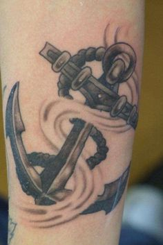 Ship Anchor Tattoo. I think the wave would be cool in blue